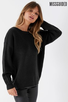 Missguided Twist Back Long Sleeve Jumper