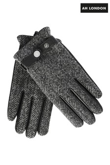 AH London Black Harris Tweed Gloves