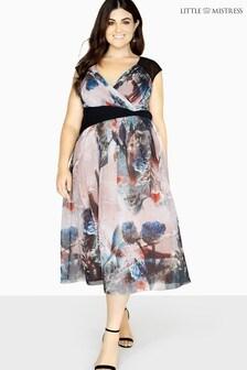 Little Mistress Curve Printed Wrap Midi Dress