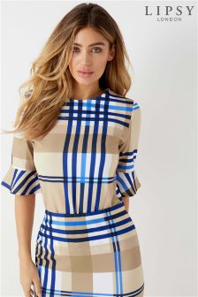 Lipsy Check Flute Sleeve Top