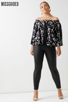 Missguided Curve High Waist Coated Skinny Jeans