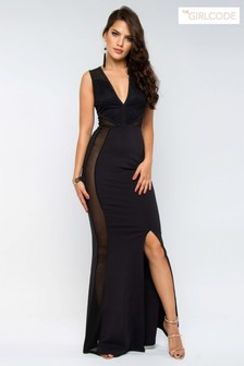 The Girlcode Lace And Mesh Maxi Dress