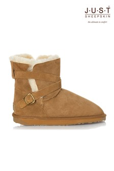 Just Sheepskin Strap & Buckle Detail Boot