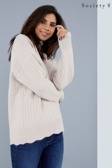 Society 8 Scallop Hem Knitted Jumper