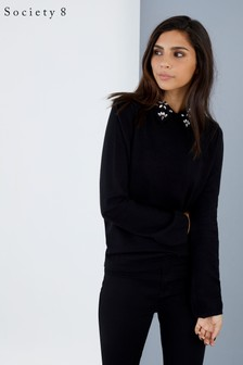 Society 8 Embellished Collar Knitted Jumper