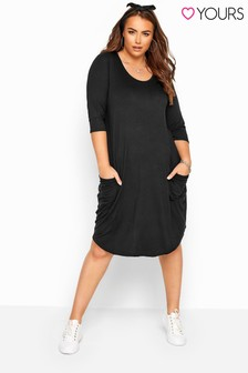 Yours Drape Pocket 3/4 Length Sleeve Midi Dress