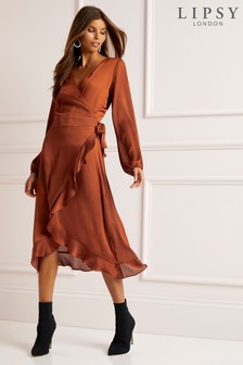 Lipsy Ruffle Wrap Midi Dress