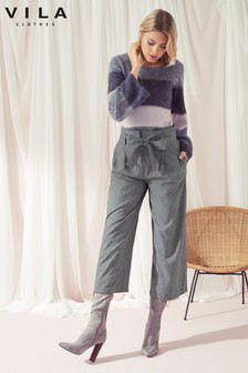 Vila Cropped Wide Leg Trousers