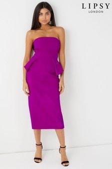 Lipsy Bandeau Peplum Midi Dress