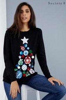 Society 8 Sequin Tree Christmas Jumper