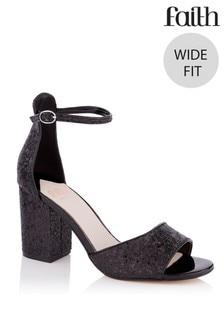 Faith Wide Fit Glitter Block Heel Sandals