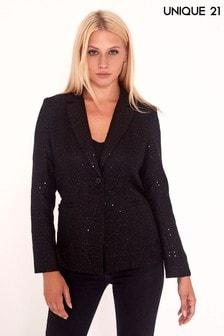 Unique 21 Sequin Tweed Blazer