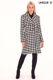Unique 21 Hounds Tooth Wool Coat