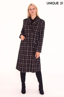 Unique 21 Checked Wool Double Breasted Coat