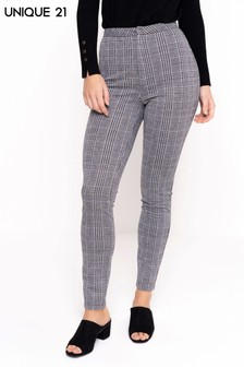 Unique 21 High Waist Checked Jeggings