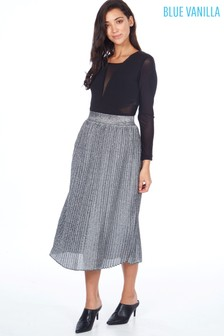 Blue Vanilla Metallic Pleated Midi Skirt
