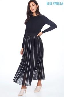 Blue Vanilla Striped Chiffon Pleated Midi Skirt