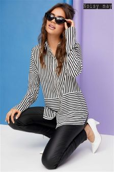 Noisy May Monochrome Striped Shirt