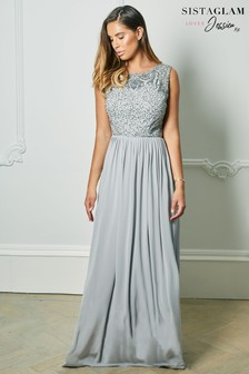 Sistaglam Loves Jessica Rose Embroidered Bodice Chiffon Skirt Maxi Dress