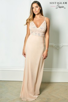 Sistaglam Loves Jessica Rose Strappy Embellished Bodice Maxi Dress