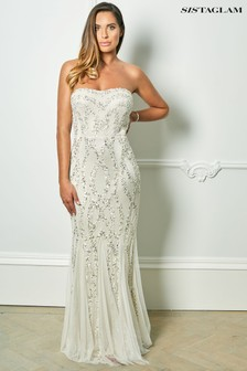 Sistaglam Loves Jessica Rose Bandeau Pattern Sequins Fish Tail Maxi Dress