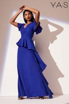 Y.A.S Short Sleeve Ruffle Maxi Dress