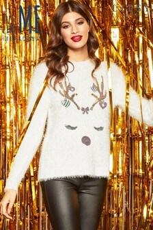 Lipsy Christmas Reindeer Eyelash Jumper