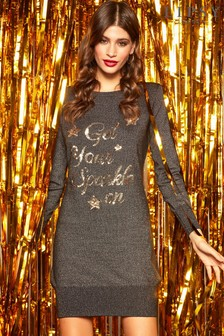 Lipsy Christmas Get Your Sparkle On Glitter Tunic