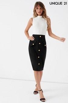Unique 21 Button Down Skirt