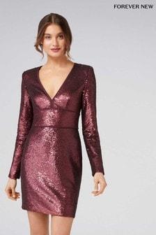 Forever New Sequin V neck Long Sleeve Sequin Dress