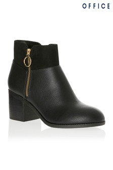 Office Zip Detail Ankle Boots