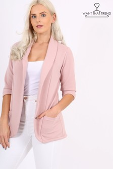 Want That Trend Ribbed Blazer Jacket