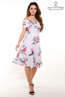 Want That Trend Floral Print Bardot Skater Dress