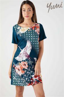 Yumi Oriental Floral Heron Tunic Dress