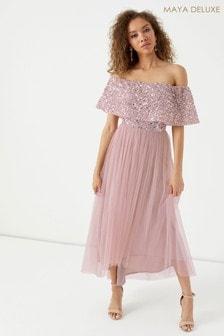 Maya Oversized Bardot Hi Low Midi Dress With Net Underlay