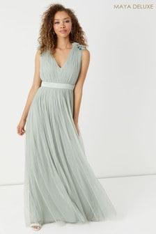 Maya Plain Tulle Gathered Maxi Dress