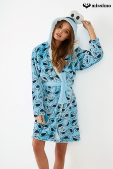 Missimo Nightwear Cookie Monster All Over Printed Fleece Hooded Robe