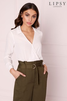 Lipsy Wrap Collar Blouse