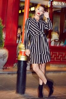 Lipsy Stripe Knot Front Shirt Dress
