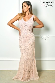 Sistaglam Loves Jessica Rose All Over Sequin Maxi Dress