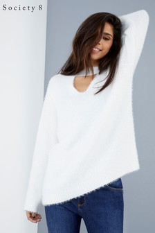 Society 8 Cream Keyhole Knitted Jumper