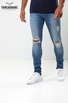 Threadbare Ripped Skinny Mid Wash Jeans