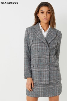 Glamorous Studio Check Double Breasted Blazer