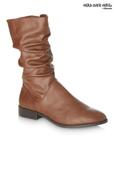 Head Over Heels Ruched Flat Boots