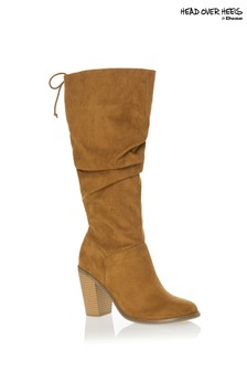 Head Over Heels Ruched Knee High Boots