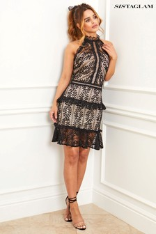 Sistaglam All Over Lace Trim Halter Neck Dress