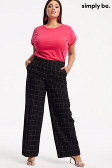 Simply Be Wide Leg Check Trousers