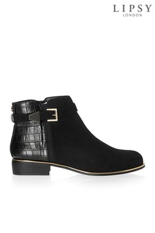 Lipsy Buckle Detail Flat Ankle Boots