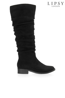 Lipsy Ruched Flat Knee Boots
