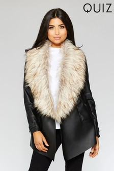 Quiz Waterfall Faux Fur Front Jacket
